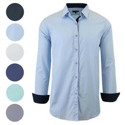 mens long sleeve stretch cotton dress shirts