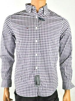 Nautica Mens Shirt New S Plaid Wrinkle Resistant Navy Wine C
