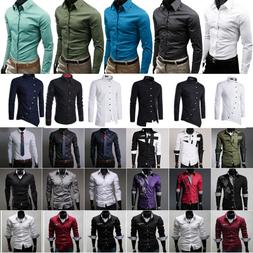Mens Slim Fit Business Shirt Long Sleeve Dress Shirts Collar