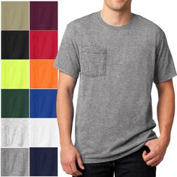 Mens T-Shirt with Pocket Jerzees 50/50 Cotton/Poly Tee Size