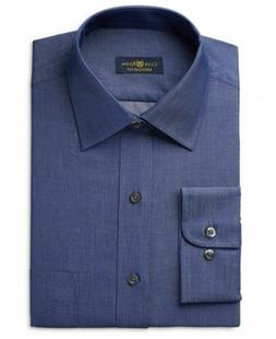 Club Room Mens Wrinkle Free Regular Fit Dress Shirt Blue 18