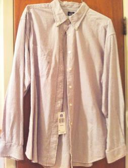 Dockers Mens XL Cotton Dress Shirt XL Brown White STRIPES Me