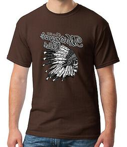 Motorcycle Club Adult's T-shirt Feather Head Dress Skull Tee