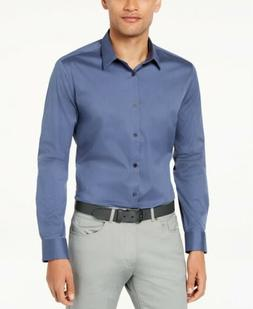 NEW $169 CALVIN KLEIN Mens SLIM-FIT BLUE LONG-SLEEVE COTTON