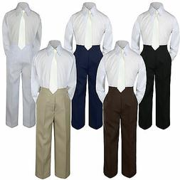 New 3pc Ivory Tie Shirt Suit for Baby Boy Toddler Kid Pants
