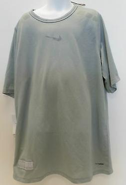 New Nike Boys Fit Dry Tennis Crew Neck Shirt Grey 204356-100