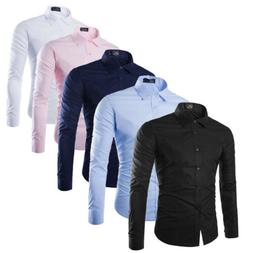 New Men Long Sleeve Button Down T-shirt Tops Slim Fit Casual