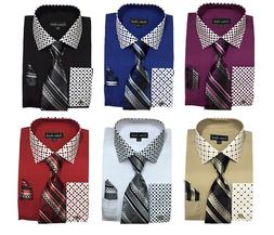 New Men's High Quality Fashion Dress Shirt With Tie&Hanky Fr