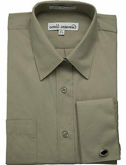 NEW Men's Shirt French Cuff Solid Dress Shirt  - Colors