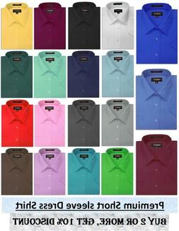 new mens solid short sleeve dress shirts