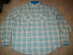 UNDER ARMOUR New NWT Mens Dress Shirt Button Up Down Blue Wh