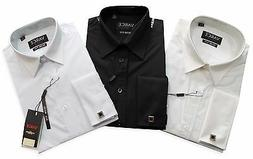 NEW VARCE MEN'S FRENCH CUFF SLIM FIT SHIRT WITH CUFF LINKS