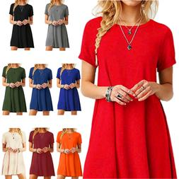 New Women Casual Short Sleeve Solid Loose Tunic Top Shirt Bl