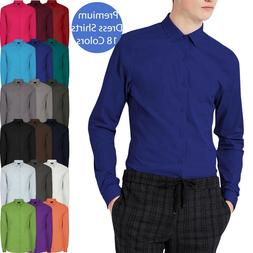 Mens DRESS SHIRTS Button Down Stretch Point Collar Slim Fit