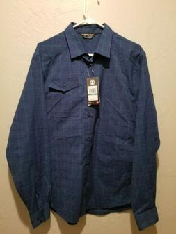 NWT $85 Under Armour Plaid Button Down Dress Shirt Loose Blu