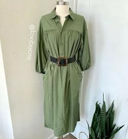 NWT Zara Belted Midi Shirt Dress w/ Pockets Olive Green Smal