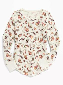 NWT OLD NAVY GIRLS SHIRT TOP THERMAL ivory floral flowers  y