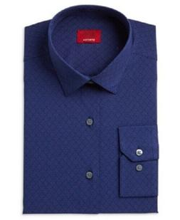 NWT Men's Alfani Dress Shirt Size Large 32/33 Blue Slim Fit