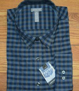 NWT Mens VAN HEUSEN Blue Gray Never Tuck Slim Fit LS Shirt L
