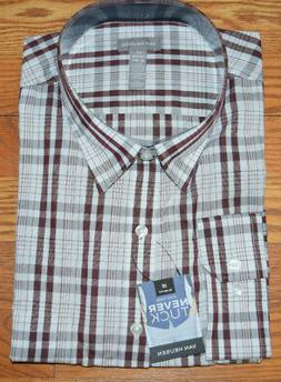 NWT Mens VAN HEUSEN Red Rubia Never Tuck Slim Fit LS Shirt M