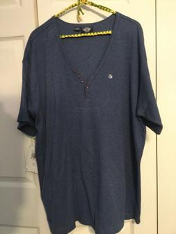NWT Women's Plus Size 2X Dockers Navy Cotton V-Neck Henley T
