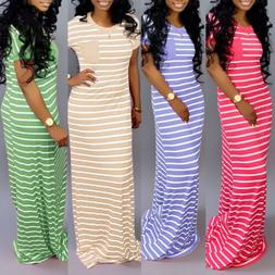 Plus Size Womens Short Sleeve Maxi Long Loose Dress Solid Pa