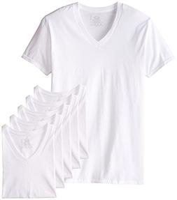 New Reinvented Tee Fruit of the Loom Men's White V-Necks, 6-