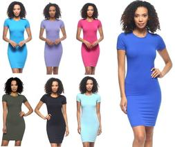 S M L Women's Basic Bodycon T-Shirt Dress Stretch Fitted Min