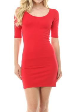 Sexy Red Hot Fitted Bodycon stretchy t-shirt micro mini dres