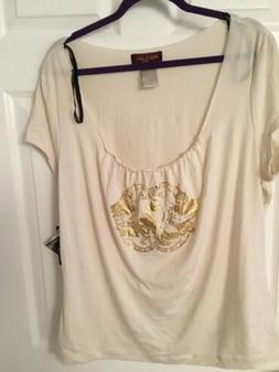 Baby Phat Size 2X Ivory T-Shirt With Gold Emblem And Crystal