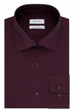 Calvin Klein Slim Fit Herringbone Dress Shirt Bordeaux Mens