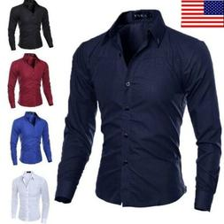 US Fashion Mens Luxury Casual Stylish Slim Fit Long Sleeve C