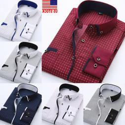 US Luxury New Fashion Mens Slim Fit Shirt Long Sleeve Dress