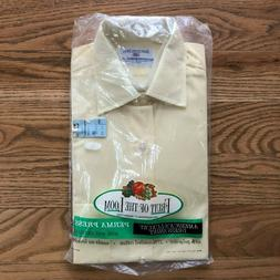Vintage Fruit of the Loom Mens Shirt Yellow Long Sleeve Perm