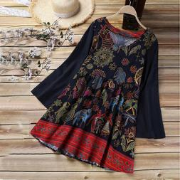 Women Casual Plus Size Loose Cotton And Linen Long Tops Shir