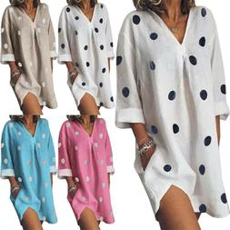 Women Plus Size Summer V Neck Blouses Loose Baggy Tops Tunic