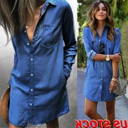 Women's Denim Jeans Dress Button Long Sleeve Loose Casual To
