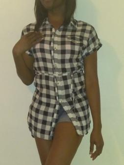 Women's short Sleeve Belted Check Plaid Flannel Shirts Dress