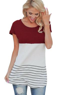 Women's Short Sleeve Striped Color Block Casual Blouse Dress