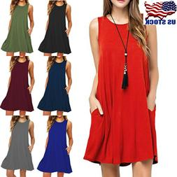 Women Sleeveless Cotton Short Dress With Pocket Casual Loose