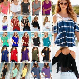 Women Summer Cold Shoulder Baggy T Shirts Tops Casual Loose