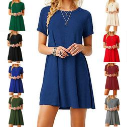 Womens Casual Crew Neck Short Sleeve Shirts Tops Swing fit M