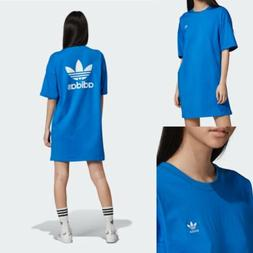 Adidas Womens L Trefoil T Shirt Dress Back Logo Blue HTF RAR