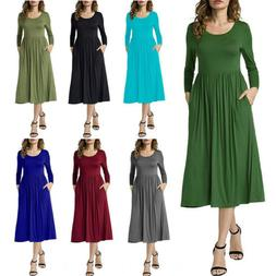 Womens Long Sleeve T Shirt Dress Cocktail Party A Line Loose