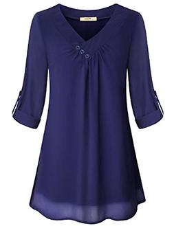 Miusey Womens Tops and Blouses for Work Ladies Comfy Simple