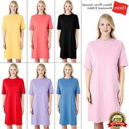 Hanes Womens Wear Around T-Shirt Dress Comfort Nightshirt To